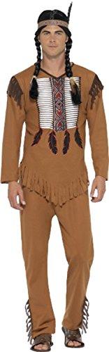 Krieger Männlichen Erwachsenen Kostüm Für - Herren-Partykostüm, Indianerkrieger, braun Gr. Brust 97 cm- 102 cm, braun