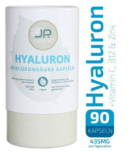 JP.natural® - 400mg Hyaluronsäure Kapseln mit Vitamin C, Vitamin B12 und Zink - 100{0b89bf354cbef6ee9714b1a1ca2d823d82486221e8153736d36ca1b19c81070e} kompostierbare Dose - 90 vegane Kapseln (3 Monate) - Für schöne Haut, Anti-Aging und Gelenke