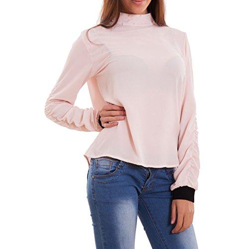 Toocool - Maglia donna maglietta velata collo perle arricciature maniche nuova CJ-2505 Rosa