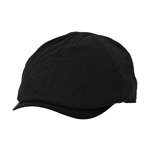 WITHMOONS Schlägermütze Golfermütze Schiebermütze Flat Cap Summer Cotton Ivy Style Newboy Hat Simple Gatsby Hat CR3925 (Black)