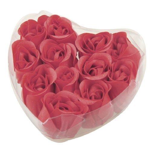 SODIAL(R) 12 x savonnette creative Design de rose rouge Pour le mariage + boite \\