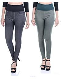 Timbre Girl's Polyester Denim Style Jeggings, Free Size (Black, Newdenpo2_BLKGRN) - Pack of 2