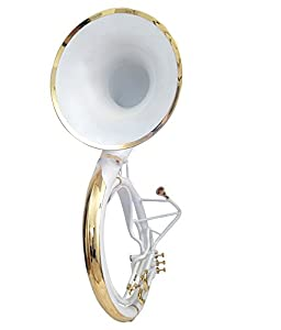 """Nasir Ali White Colored + Brass Finish Sousaphone Tuba 21"""" Bell With Carry Bag"""