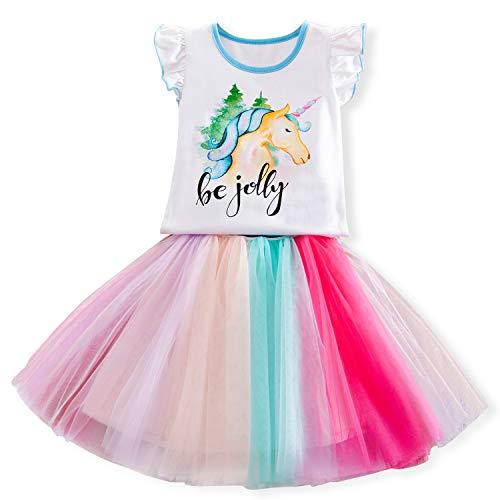 TTYAOVO 2 Stück Einhorn-Outfits,Mädchen Einhorn ärmellose Oberteile mit Geschichteten Regenbogen Tutu Röcken Größe 3-4 - 3 Stück Ärmellos Kostüm