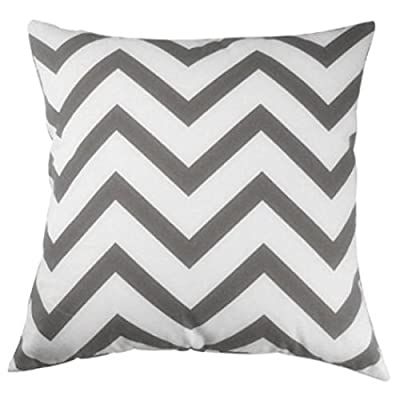 Iyanla Cotton Linen Wave Pattern Square Cushion Cover Home Car Pillow Case (45cm*45cm) (Grey) - low-cost UK light store.