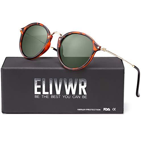 ELIVWR Redondas Retro Polarizadas Gafas Sol Con Gafas