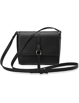 kleine schöne Schultertasche Damentasche mit Trageriemen schwarz