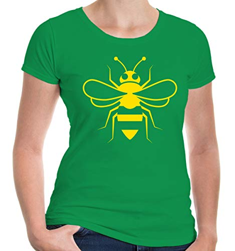 buXsbaum® Damen T-Shirt Biene Silhouette   Tier Insekt Honig   L, Grün