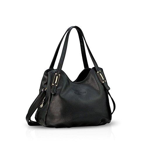 NICOLE&DORIS Dame Handtaschen Umhängetasche Schultertasche Messenger Bag PU Schwarz