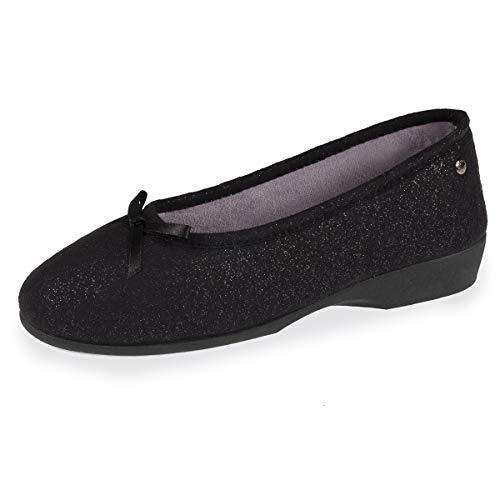Isotoner - Zapatillas Estar Casa Lona Mujer, Negro