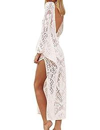 c2b08695c53e44 Mesdames Bikini Cover Up, Robe de Plage Crochet Robe d été Solide Femmes V