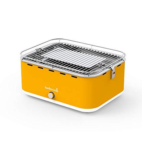 rauchfreier Holzkohlegrill Tischgrill mit Tragetasche geeignet für Balkon als Outdoor Camping-Grill mit eingebauten Gebläse spülmaschinen-fest