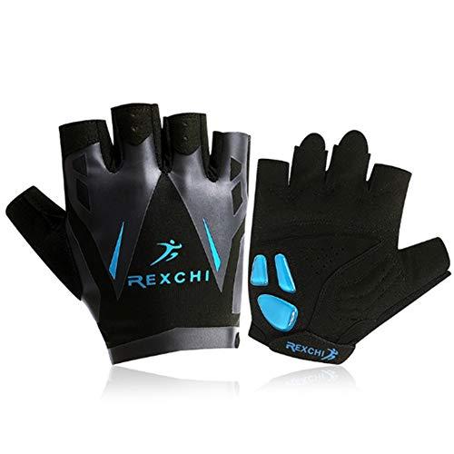 Huide Man Weight Lifting Handschuhe Wrist Wrist Wraps Rilfen-Handschuhe Palm Slip Wrist Wraps Powerlifting Breathable Wrist Support Strength Cycling (A Pair),Blue,M Thinsulate-slip