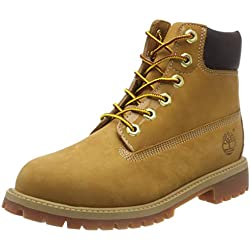Timberland 6 In Classic Boot-6 In Premium Wp Boot, Stivaletti Unisex – Bambini, Beige (Wheat Nubuck), 36 EU