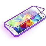 Samsung Galaxy S5 Mini, JAMMYLIZARD Rundumschutz Hülle aus mattem Silikon mit integriertem Displayschutz, LILA