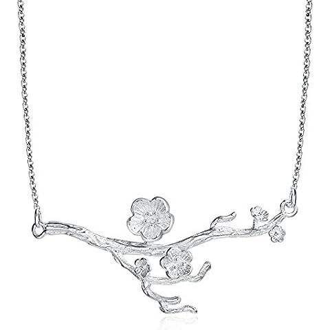 City Ouna® Moda gioielli argento Rose Collana in oro bianco per le donne in catene gourmette