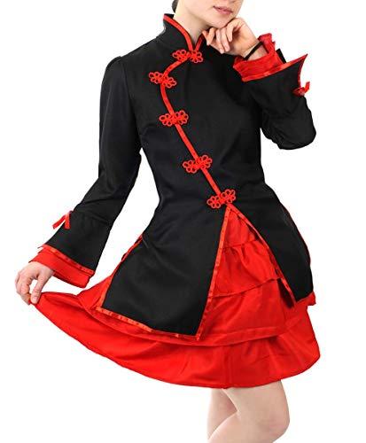 CoolChange Cheongsam Damen Kostüm mit kurzem Rock, Rot Größe: ()