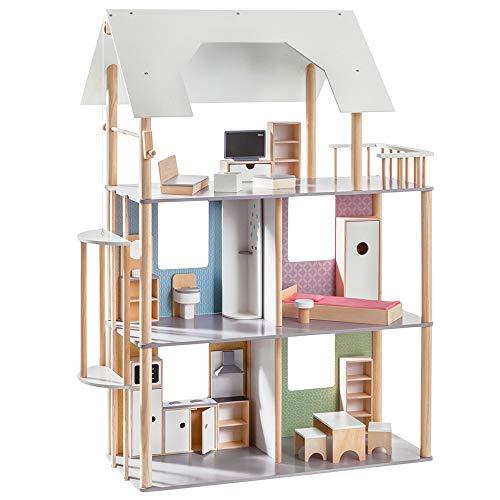 Howa Casa delle Bambole per Vestire Le Bambole Fino a 30 cm, incl. 19 pz. Set di mobili in Legno...