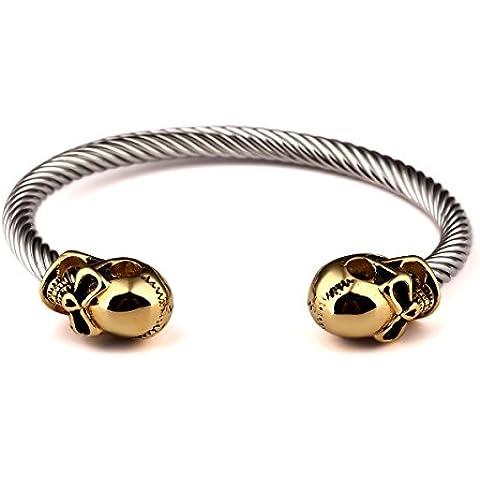 nyuk Hip Hop Design originale da uomo Fashion Teschio Regolabile in titanio Bracciale in acciaio - Emerald Jade Bracciale