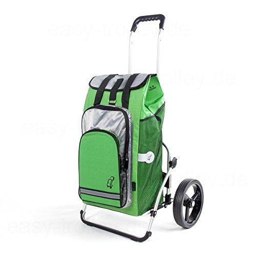 XXL Einkaufstrolley, extra große Reifen, inkl. abnehmbarer Tasche Hydro grün, 56 Ltr. mit Kühlfach und als Rucksack tragbar