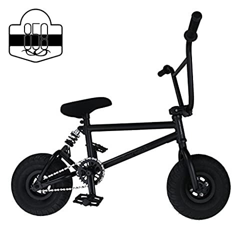 Mini BMX Freestyle Bike – Light Fat Tyres With 3pce Crank & Spring Accessories For Pro To Beginner – These Bad Boy Bicycles Are Great For Stunt Trick & Racing (Black) By RIDE