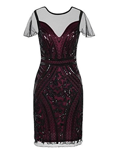 PrettyGuide Damen 1920er Vintage Pailetten Great Gatsby Kleider Mit Ärmel Cocktailkleid