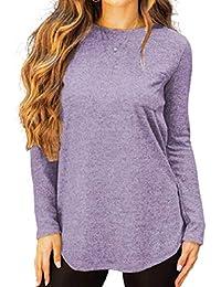 OtoñO E Invierno Ocio All-Match Camiseta De Manga Larga con Cuello Redondo Y Color SóLido para Mujer