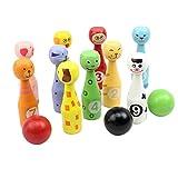 TOYMYTOY Bowlingset Holzspielzeug pädagogische interaktive Bowlingkugel Kinder Geburtstag Geschenk Sport Spielzeug Tier Bowling