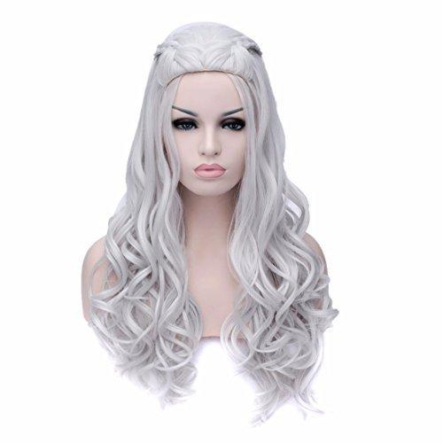 Kostüme Lange Perücke (Khaleesi Daenerys Targaryen Silver White Partei Cosplay Haar Voller Perücken Langen Gewellten Lockig Anime Flauschigen Kühlen)