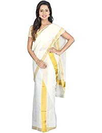K S Collection Women's Kerala Kasavu Cotton Set Mundu Saree (KSC-019_Off-White_Free Size)