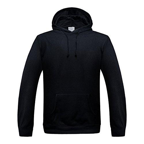 TANG Hooded Langärmelige Pullover Sport Baseball Einheitliche Farbe Warmen Pullover Schwarz Xl (Platten-jugend-t-shirt)