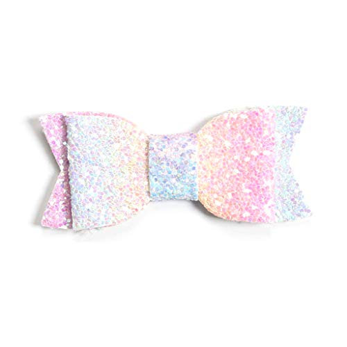 chenpaif Cute Baby Girls Toddlers Big Bow Hair Clips Glitter Sequins Rainbow Gradient Colored Alligator Hairpins Party Ponytail Barrettes ()