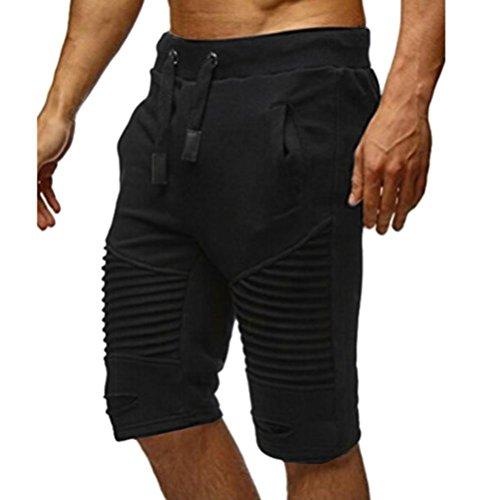 Herren Shorts Streifen Slim Hosen GreatestPAK Schwarz
