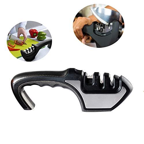 3 fasi coltello temperamatite, abs + acciaio inox + acciaio al tungsteno + ceramica, utensile da affilatura rapida per cucina domestica multifunzione, per coltelli diritti e serrati,black