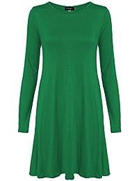 Chocolate Pickle ® Neue Frauen Plus Size Flare Swing-Kleid Langarmshirt Hanky Hem Jersey-Kleid 36-54