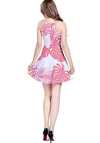 CowCow Damen Kleid Violett Violett - Pink Palm Tree