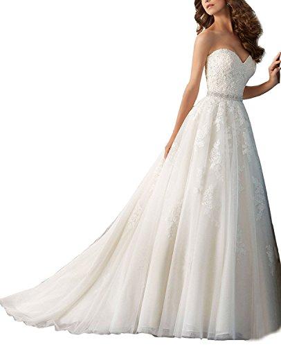 YASIOU Hochzeitskleid Standesamt Damen Vintage Lang Weiß Spitze Herzausschnitt mit Schleppe...