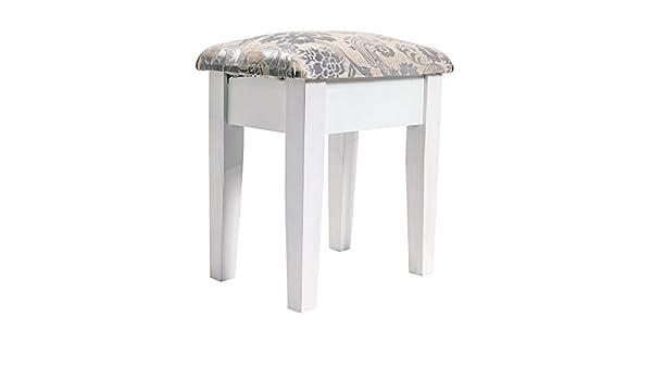 Rebecca srl sgabello sedia legno bianco grigio design shabby chic