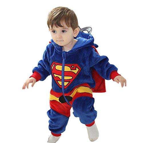 Weiche Supermänner des Kleinkind-Pyjamas Kigurumi Unisexbaby Cosplay Onesie Kostümspielanzug (XXL (24 - 36 Monate (110 cm)) (Halloween Kostüme Für Babys 18 24 Monate Uk)