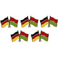 5er Pack Deutschland - Burkina Faso Freundschaftspin Yantec Pin Flagge