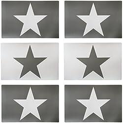 Set de 6manteles individuales 44x 30cm de estrella en color gris y blanco