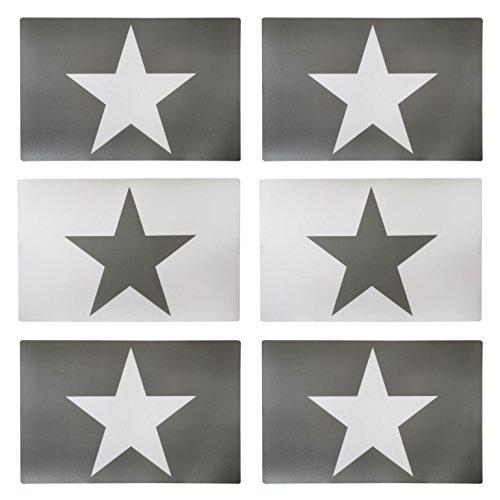 Manteles individuales con decoración en forma de estrella, 44x 30cm, color gris y blanco, 6 unidades