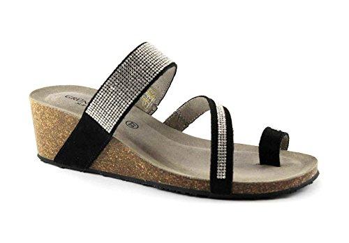 Grünland PAGE CB0372 noir coin strass sandales en cuir des femmes Nero