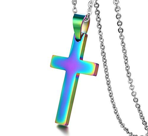 Vnox Herren Regenbogen Plattiert Edelstahl Einfache Kreuz Anhänger Halskette mit 50 cm O Link Panzerkette (Kreuze Anhänger)