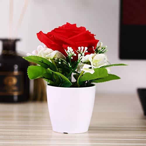 Asvert fiori artificiali in seta e bianco vaso in porcellana imitazione o plastica decorazione per casa rosso rosa e bianchi fiori piccoli