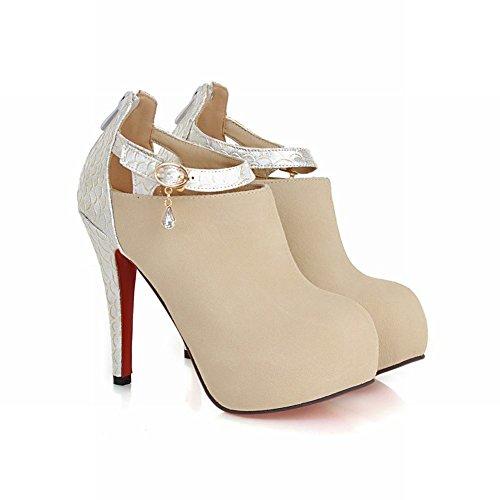 Mee Shoes Damen high heels Reißverschluss Plateau Stiefel Beige