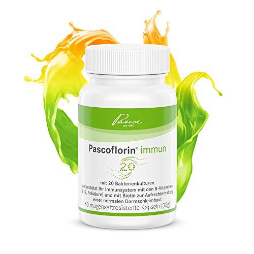 Therapie 60 Kapseln (Pascoe® Pascoflorin immun: 20 Milchsäurebakterienkulturen - Vitamin B12 & Folsäure fürs Immunsystem - auch begleitend zur Antibiotika-Therapie - vegan - hergestellt in Deutschland - 60 Kapseln)