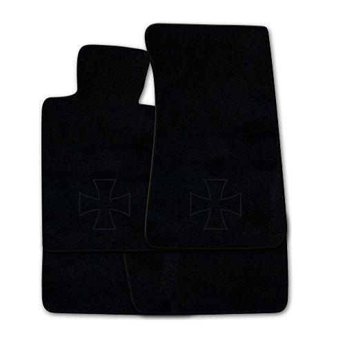 Preisvergleich Produktbild Fußmatten aus NF-Velours in Schwarz mit Logo EISERNES KREUZ (Kontur) mittig, Rand & Logo in Schwarz (300) für Porsche 911 996 mit Bose Sound Baujahr 1997-2006