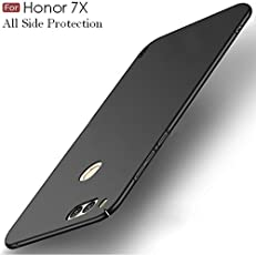 """WOW Imagine All Angle Protection """"360 Degree"""" Ultra-Slim Lightweight Rubberised Matte Hard Case Back Cover For Huawei Honor 7X - Pitch Black"""