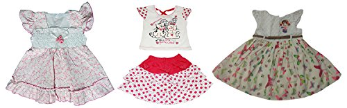 Bisbasta Baby Girls' Combo of Clothing Set and 2 Frocks (Fidatopffrktswff_12 To 18 Months )